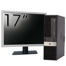 Pachet Calculator HP RP5800 SFF, Intel Core i3-2120 3.30GHz, 4GB DDR3, 250GB SATA, DVD-ROM, 2 Porturi Serial + Monitor 17 Inch